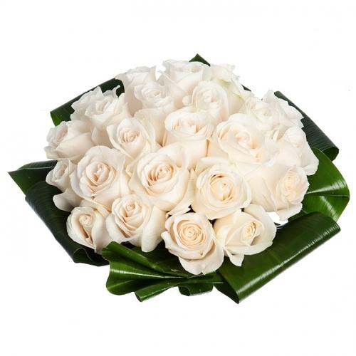 Купить в Харькове Букет из 25 белых роз с листьями аспидистры с лентой